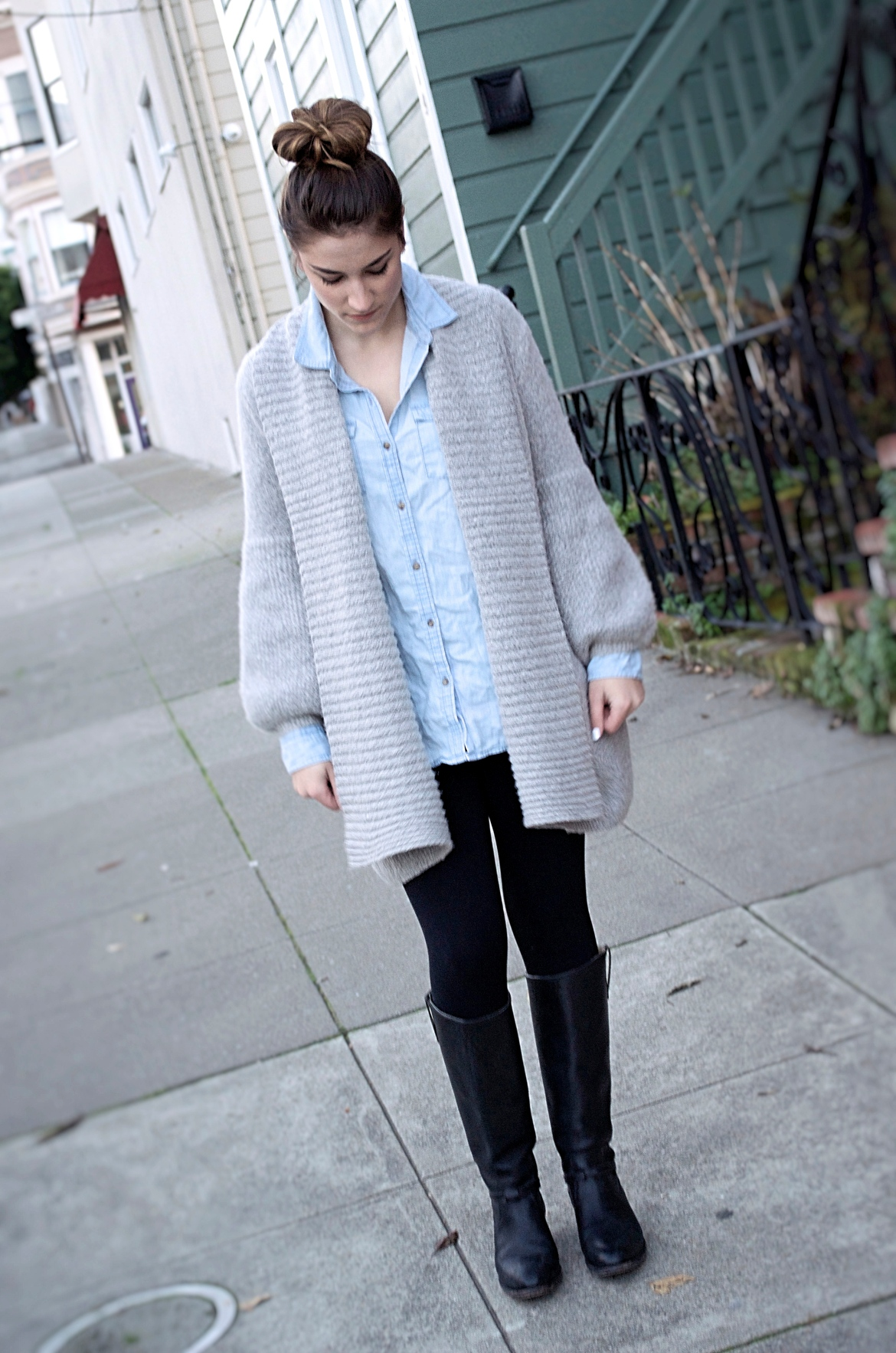 chambray-button-up